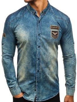 Мужская джинсовая рубашка с длинным рукавом темно-сине-серая Bolf 0992