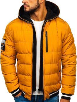Мужская зимняя куртка бомбер кэмел Bolf 5892