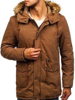 Мужская зимняя куртка парка коричневая Bolf 5810