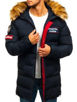 Мужская зимняя куртка парка темно-синяя Bolf 5315