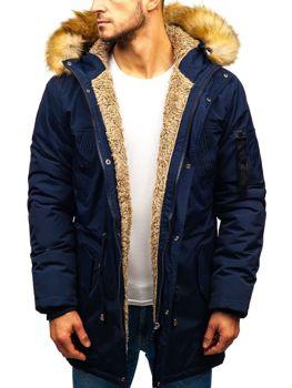 Мужская зимняя куртка парка темно-синяя Bolf R103