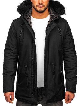 Мужская зимняя куртка парка черная Bolf 1068