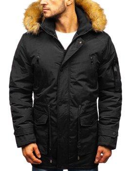 Мужская зимняя куртка парка черная Bolf R102