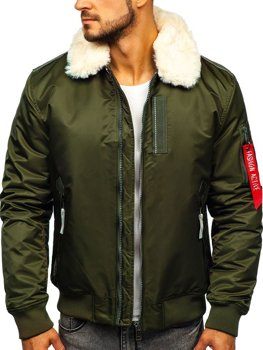 Мужская зимняя куртка пилот зеленая Bolf 1787