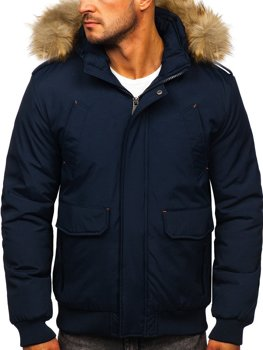 Мужская зимняя куртка темно-синяя Bolf 1770