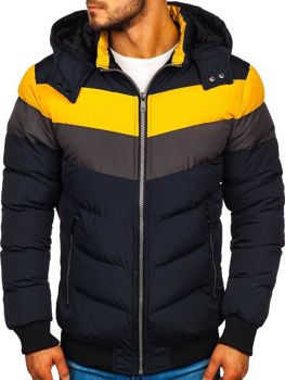 Мужская зимняя куртка темно-синяя Bolf 5808