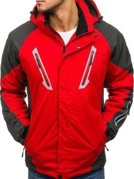 Мужская зимняя лыжная куртка красная Bolf F809