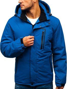 Мужская зимняя лыжная куртка синяя Bolf HZ8107