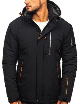 Мужская зимняя лыжная куртка черно-оранжевая Bolf 1910