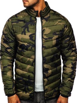Мужская зимняя спортивная куртка камуфляж-зеленая Bolf SM32
