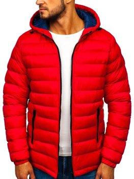 Мужская зимняя спортивная куртка красная Bolf JP1101