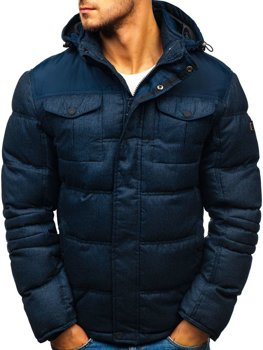 Мужская зимняя спортивная куртка темно-синяя Bolf AB104
