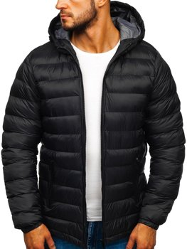 Мужская зимняя спортивная куртка черная Bolf JP1101