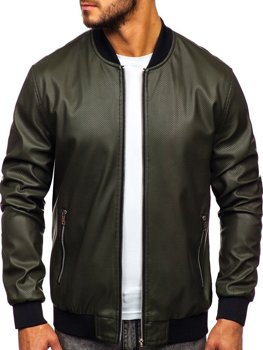 Мужская кожаная куртка зеленая Bolf 6123