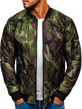 Мужская куртка-бомбер камуфляж-зеленая Bolf MY01