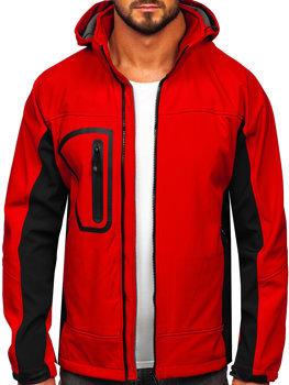 Мужская куртка софтшелл красная Bolf T019