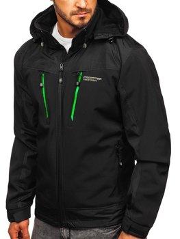 Мужская куртка софтшелл черно-зеленая BolfP185