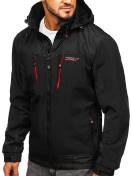 Мужская куртка софтшелл черно-красная Bolf P185