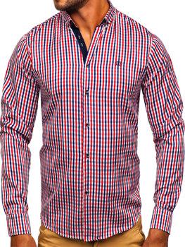 Мужская рубашка виши в клетку с длинным рукавом красная Bolf 4712