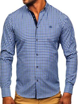 Мужская рубашка виши в клетку с длинным рукавом темно-синяя Bolf 4712