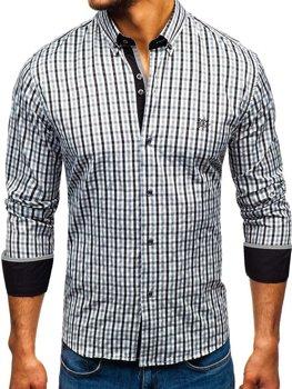 Мужская рубашка виши в клетку с длинным рукавом черная Bolf 4712