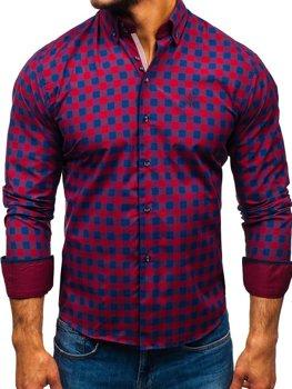 Мужская рубашка в клетку с длинным рукавом бордовая Bolf 5816-A