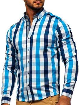 Мужская рубашка в клетку с длинным рукавом голубая Bolf 2779