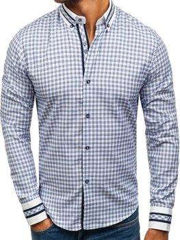 Мужская рубашка в клетку с длинным рукавом синяя Bolf 8808