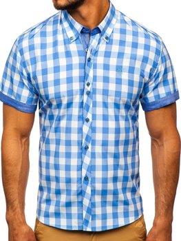 Мужская рубашка в клетку с коротким рукавом голубая Bolf 6522