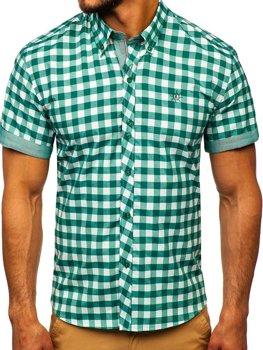 Мужская рубашка в клетку с коротким рукавом зеленая Bolf 6522