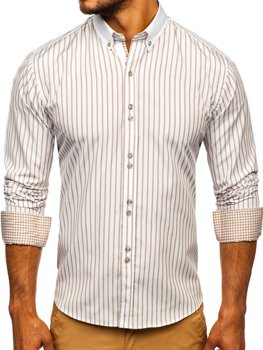 Мужская рубашка в полоску с длинным рукавом бежевая Bolf 9713
