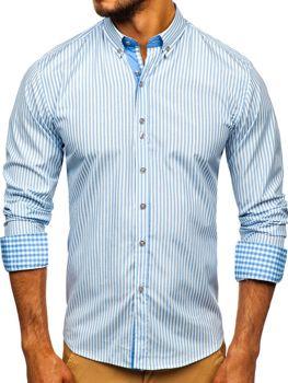 Мужская рубашка в полоску с длинным рукавом голубая Bolf 9711