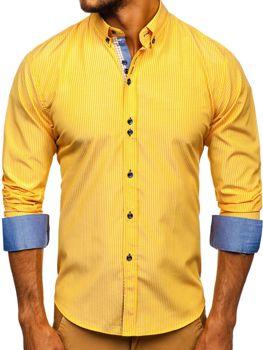 Мужская рубашка в полоску с длинным рукавом желтая Bolf 9714