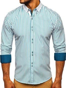 Мужская рубашка в полоску с длинным рукавом зеленая Bolf 9713