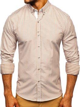 Мужская рубашка в полоску с длинным рукавом коричневая Bolf 9711