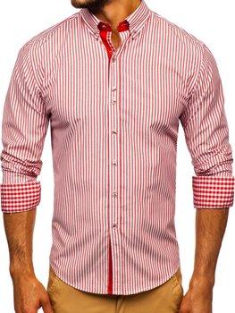 Мужская рубашка в полоску с длинным рукавом красная Bolf 9711
