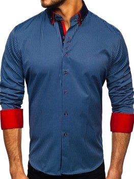 Мужская рубашка в полоску с длинным рукавом темно-синяя Bolf 2751