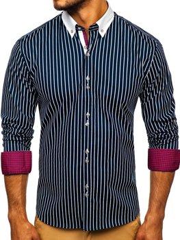Мужская рубашка в полоску с длинным рукавом темно-синяя Bolf 9713