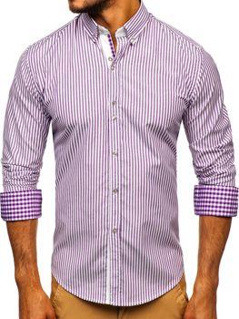 Мужская рубашка в полоску с длинным рукавом фиолетовая Bolf 9711