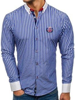 Мужская рубашка с длинным рукавом в полоску синяя Bolf 1771
