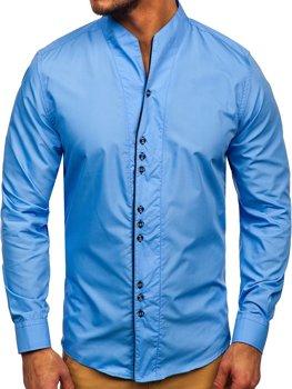 Мужская рубашка с длинным рукавом голубая Bolf 5720