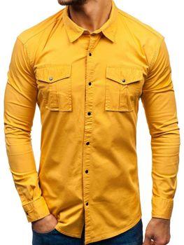 d744d7e106c Мужская рубашка с длинным рукавом горчичная Bolf 2058-1
