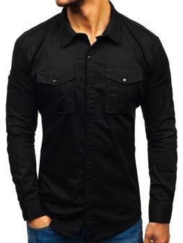 Мужская рубашка с длинным рукавом черная Bolf 2058-1