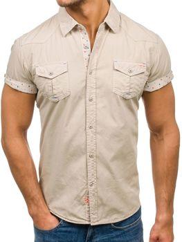 Мужская рубашка с коротким рукавом бежевая Bolf 3276