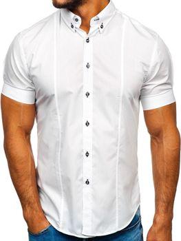 Мужская рубашка с коротким рукавом белая Bolf 5528