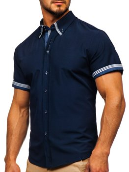 Мужская рубашка с коротким рукавом темно-синяя Bolf 2911