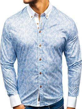 Мужская рубашка с узором и длинным рукавом синяя Bolf 8842