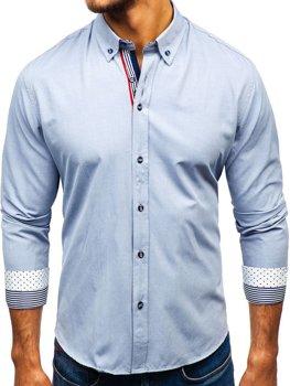 Мужская рубашка с узором и длинным рукавом черная Bolf 8843