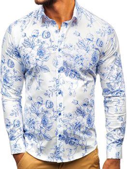 Мужская рубашка с узором с длинным рукавом бело-синяя Bolf 200G66