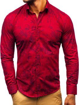 Мужская рубашка с узором с длинным рукавом бордовая Bolf 200G68